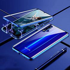 Custodia Lusso Alluminio Laterale Specchio 360 Gradi Cover T04 per Huawei Nova 5 Pro Blu
