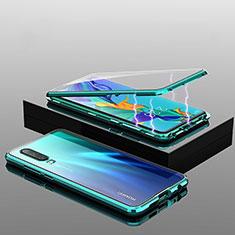Custodia Lusso Alluminio Laterale Specchio 360 Gradi Cover T04 per Huawei P30 Verde