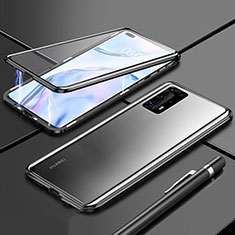 Custodia Lusso Alluminio Laterale Specchio 360 Gradi Cover T04 per Huawei P40 Pro+ Plus Nero