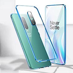 Custodia Lusso Alluminio Laterale Specchio 360 Gradi Cover T04 per OnePlus 8 Blu