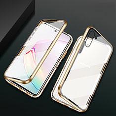 Custodia Lusso Alluminio Laterale Specchio 360 Gradi Cover T04 per Samsung Galaxy Note 10 5G Oro