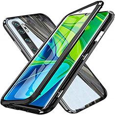 Custodia Lusso Alluminio Laterale Specchio 360 Gradi Cover T04 per Xiaomi Mi Note 10 Nero