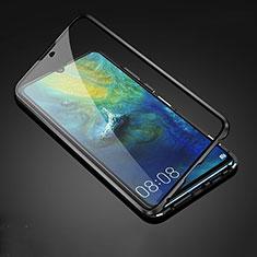 Custodia Lusso Alluminio Laterale Specchio 360 Gradi Cover T05 per Huawei Mate 20 Nero