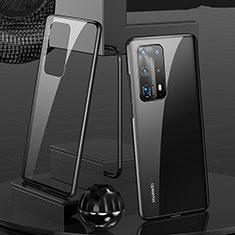 Custodia Lusso Alluminio Laterale Specchio 360 Gradi Cover T05 per Huawei P40 Pro+ Plus Nero