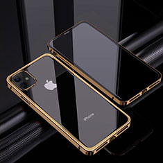 Custodia Lusso Alluminio Laterale Specchio 360 Gradi Cover T06 per Apple iPhone 12 Mini Oro