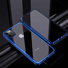 Custodia Lusso Alluminio Laterale Specchio 360 Gradi Cover T06 per Apple iPhone 12 Pro Max Blu