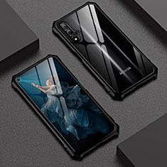 Custodia Lusso Alluminio Laterale Specchio 360 Gradi Cover T06 per Huawei Honor 20 Nero