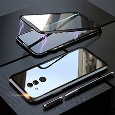 Custodia Lusso Alluminio Laterale Specchio 360 Gradi Cover T06 per Huawei Mate 20 Lite Nero