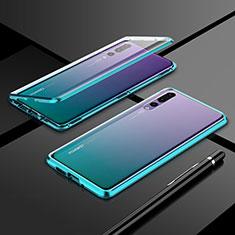 Custodia Lusso Alluminio Laterale Specchio 360 Gradi Cover T06 per Huawei P20 Pro Verde