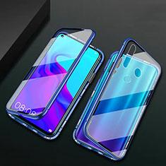 Custodia Lusso Alluminio Laterale Specchio 360 Gradi Cover T06 per Huawei P30 Lite XL Blu
