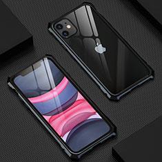Custodia Lusso Alluminio Laterale Specchio 360 Gradi Cover T07 per Apple iPhone 11 Nero