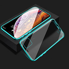 Custodia Lusso Alluminio Laterale Specchio 360 Gradi Cover T08 per Apple iPhone 11 Ciano