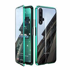 Custodia Lusso Alluminio Laterale Specchio 360 Gradi Cover T08 per Huawei Honor 20 Verde