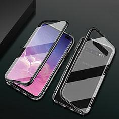 Custodia Lusso Alluminio Laterale Specchio 360 Gradi Cover T08 per Samsung Galaxy S10 Plus Nero