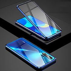 Custodia Lusso Alluminio Laterale Specchio 360 Gradi Cover Z01 per Huawei Nova 6 5G Blu
