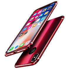Custodia Lusso Alluminio Laterale Specchio Cover A01 per Apple iPhone X Rosso
