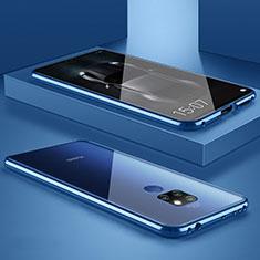 Custodia Lusso Alluminio Laterale Specchio Cover M01 per Huawei Mate 20 Blu