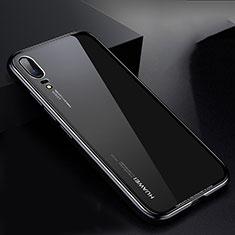 Custodia Lusso Alluminio Laterale Specchio Cover M01 per Huawei P20 Nero