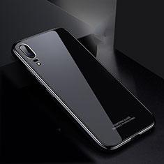 Custodia Lusso Alluminio Laterale Specchio Cover M02 per Huawei P20 Nero