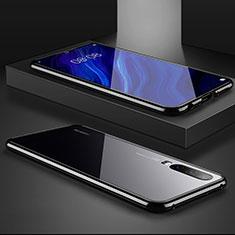 Custodia Lusso Alluminio Laterale Specchio Cover M02 per Huawei P30 Nero