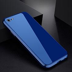 Custodia Lusso Alluminio Laterale Specchio Cover per Apple iPhone 6S Plus Blu