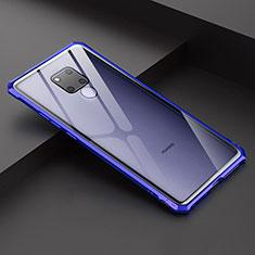 Custodia Lusso Alluminio Laterale Specchio Cover per Huawei Mate 20 X 5G Blu