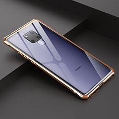Custodia Lusso Alluminio Laterale Specchio Cover per Huawei Mate 20 X 5G Oro