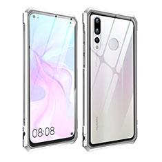 Custodia Lusso Alluminio Laterale Specchio Cover per Huawei Nova 4 Argento