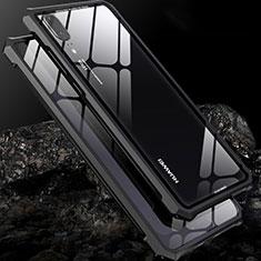 Custodia Lusso Alluminio Laterale Specchio Cover per Huawei P20 Nero