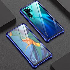 Custodia Lusso Alluminio Laterale Specchio Cover per Huawei P30 Pro Blu