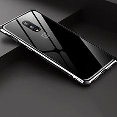 Custodia Lusso Alluminio Laterale Specchio Cover per OnePlus 6T Argento