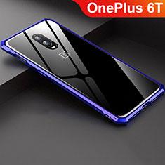 Custodia Lusso Alluminio Laterale Specchio Cover per OnePlus 6T Blu