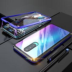 Custodia Lusso Alluminio Laterale Specchio Cover per Oppo R17 Pro Blu