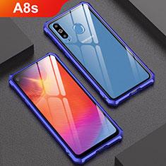 Custodia Lusso Alluminio Laterale Specchio Cover per Samsung Galaxy A8s SM-G8870 Blu