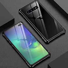 Custodia Lusso Alluminio Laterale Specchio Cover per Samsung Galaxy S10 Plus Nero