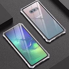 Custodia Lusso Alluminio Laterale Specchio Cover per Samsung Galaxy S10e Argento