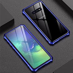 Custodia Lusso Alluminio Laterale Specchio Cover per Samsung Galaxy S10e Blu