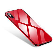 Custodia Lusso Alluminio Laterale Specchio Cover S01 per Apple iPhone Xs Max Rosso