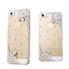 Custodia Lusso Diamante Strass Gioielli Fiori per Apple iPhone 5 Bianco