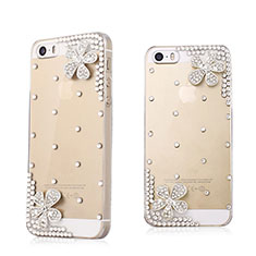 Custodia Lusso Diamante Strass Gioielli Fiori per Apple iPhone 5S Bianco