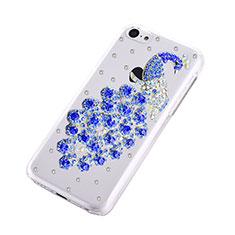 Custodia Lusso Diamante Strass Gioielli Pavone per Apple iPhone 5C Blu
