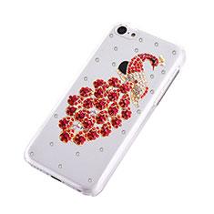 Custodia Lusso Diamante Strass Gioielli Pavone per Apple iPhone 5C Rosso