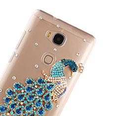 Custodia Lusso Diamante Strass Gioielli Pavone per Huawei GR5 Blu