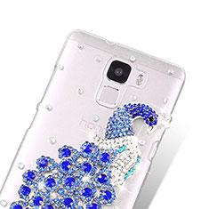 Custodia Lusso Diamante Strass Gioielli Pavone per Huawei Honor 7 Blu