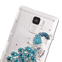 Custodia Lusso Diamante Strass Gioielli Pavone per Huawei Honor 7 Dual SIM Cielo Blu