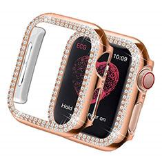 Custodia Lusso Diamante Strass Gioielli per Apple iWatch 5 44mm Oro Rosa
