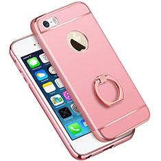 Custodia Lusso Metallo Laterale e Plastica con Anello Supporto A01 per Apple iPhone 5S Rosa