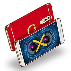 Custodia Lusso Metallo Laterale e Plastica con Anello Supporto A02 per Huawei Honor 6X Pro Rosso