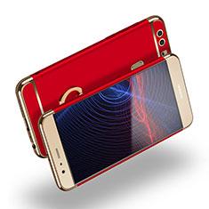 Custodia Lusso Metallo Laterale e Plastica con Anello Supporto A03 per Huawei P9 Rosso