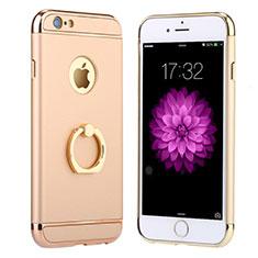 Custodia Lusso Metallo Laterale e Plastica con Anello Supporto A05 per Apple iPhone 6S Plus Oro